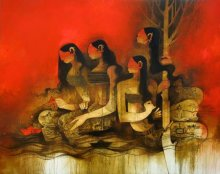 Figurative Oil Art Painting title 'Women' by artist Amol Pawar