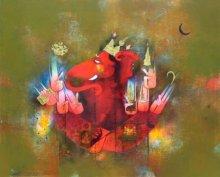 Amol Pawar Paintings | Mixed-media Painting - Dev Gajanan by artist Amol Pawar | ArtZolo.com