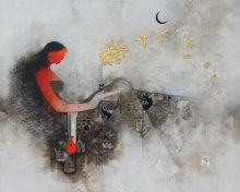 Religious Mixed-media Art Painting title 'Parvati' by artist Amol Pawar