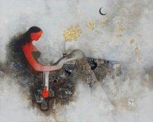 Amol Pawar Paintings | Mixed-media Painting - Parvati by artist Amol Pawar | ArtZolo.com