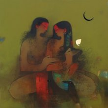 Figurative Oil Art Painting title 'Shiv Parvati' by artist Amol Pawar