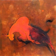 Figurative Oil Art Painting title 'Bull III' by artist Amol Pawar