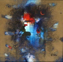 Religious Acrylic Art Painting title 'Shiv' by artist Amol Pawar