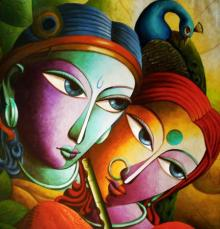 Dhananjay Mukherjee | Acrylic Painting title Radha With Krishna III on Canvas | Artist Dhananjay Mukherjee Gallery | ArtZolo.com