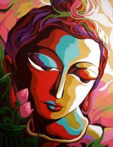 Figurative Acrylic Art Painting title 'Krishna V' by artist Dhananjay Mukherjee