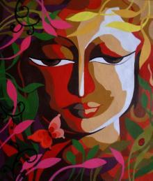 Religious Acrylic Art Painting title 'Krishna II' by artist Dhananjay Mukherjee