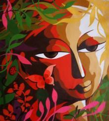 Religious Acrylic Art Painting title 'Krishna III' by artist Dhananjay Mukherjee