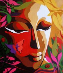 Religious Acrylic Art Painting title 'Krishna IV' by artist Dhananjay Mukherjee