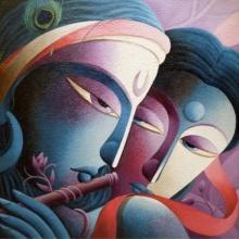 Religious Acrylic Art Painting title 'Mayavi 1' by artist Dhananjay Mukherjee
