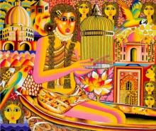 Figurative Acrylic Art Painting title Curiosity by artist Ravi Kattakuri