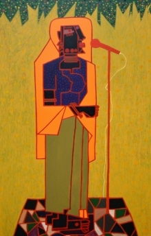 Anup Shrivastav | Acrylic Painting title Folk Studio 13 on Canvas | Artist Anup Shrivastav Gallery | ArtZolo.com