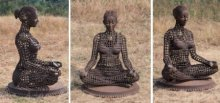 Welded Iron,Brass Sculpture titled 'Yoga Lady 2' by artist Prabhakar Singh