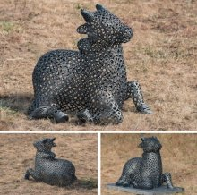Welded Iron Sculpture titled 'Nandi' by artist Prabhakar Singh