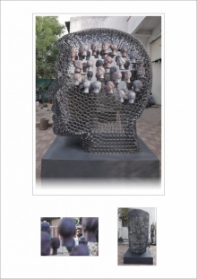 Iron, Frp Sculpture titled 'Untitled 10' by artist Prabhakar Singh