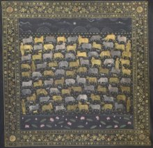 Religious Mixed-media Art Painting title 'Pichwai Cows' by artist Pushkar Lohar Pichwai