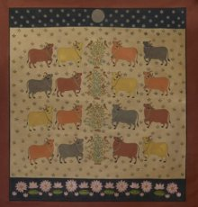 Religious Mixed-media Art Painting title 'Cows Pichwai' by artist Pushkar Lohar Pichwai