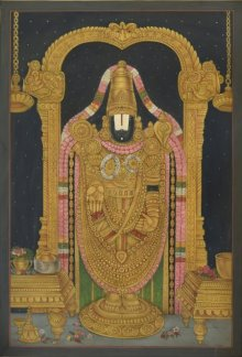 Tirupati Balaji Pichwai | Painting by artist Pushkar Lohar Pichwai | mixed-media | Cloth