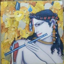 Religious Acrylic Art Painting title 'Krishna Playing Flute' by artist Saraswathi Lingampally