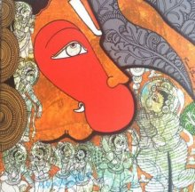 Religious Acrylic Art Painting title 'Hanuman' by artist Ramesh Gorjala