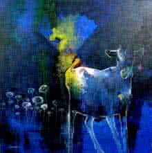 Surrealist Acrylic Art Painting title Dream way by artist Pradip Sengupta