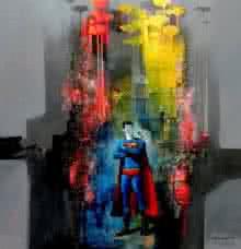 Surrealist Acrylic Art Painting title Superman by artist Pradip Sengupta