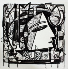Figurative Ink Art Drawing title 'Untitled 13' by artist Girish Adannavar