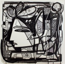 Ink Paintings | Drawing title Untitled 11 on Canvas | Artist Girish Adannavar