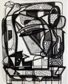 Ink Paintings | Drawing title Untitled 8 on Canvas | Artist Girish Adannavar
