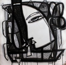 Ink Paintings | Drawing title Untitled 5 on Canvas | Artist Girish Adannavar