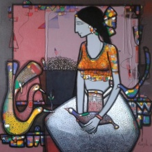 Figurative Acrylic Art Painting title 'Lady With Bird 1' by artist Girish Adannavar