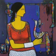 Figurative Acrylic Art Painting title 'Lady With Bird 3' by artist Girish Adannavar
