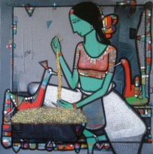 Figurative Acrylic Art Painting title 'Lady With Bird 5' by artist Girish Adannavar