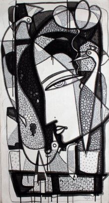 Ink Paintings | Drawing title Untitled 3 on Canvas | Artist Girish Adannavar
