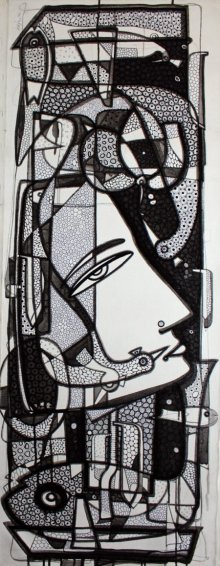 Ink Paintings | Drawing title Untitled 2 on Canvas | Artist Girish Adannavar
