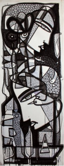 Figurative Ink Art Drawing title 'Untitled 1' by artist Girish Adannavar