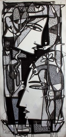 Figurative Ink Art Drawing title 'Untitled' by artist Girish Adannavar