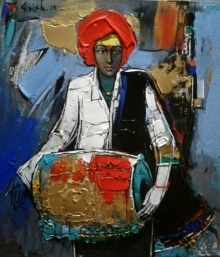 Figurative Acrylic Art Painting title 'Untitled 7' by artist Girish Adannavar