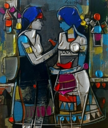 Figurative Acrylic Art Painting title 'Untitled 18' by artist Girish Adannavar