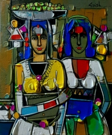 Figurative Acrylic Art Painting title 'Untitled 21' by artist Girish Adannavar