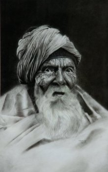 Charcoal Paintings | Drawing title Old Man 1 on Paper | Artist Kulwinder Singh