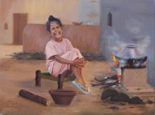Kulwinder Singh | Oil Painting title Priceless Happiness on Canvas | Artist Kulwinder Singh Gallery | ArtZolo.com