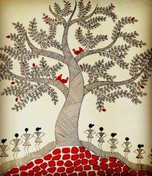 Folk Art Acrylic Art Painting title Treeoflife3 by artist Madhavi Sandur