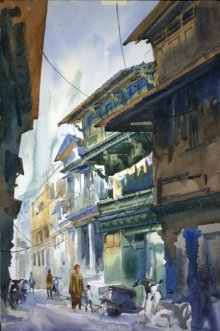 Landscape Watercolor Art Painting title 'Ahemadabad Street 2' by artist Vikrant Shitole