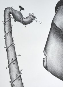 Figurative Pen Art Drawing title 'Thirst 58' by artist Nuril Bhosale