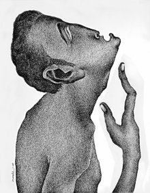 Figurative Pen Art Drawing title 'Thirst 65' by artist Nuril Bhosale