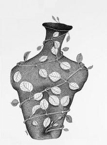 Pots/Vessels Pen Art Drawing title Thirst 71 by artist Nuril Bhosale