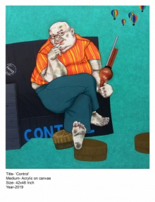 Mrinal Dey Paintings | Contemporary Painting - CONTROL by artist Mrinal Dey | ArtZolo.com
