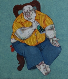 Mrinal Dey Paintings | Figurative Painting - I Am Clean by artist Mrinal Dey | ArtZolo.com