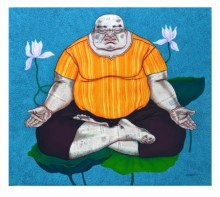 Mrinal Dey Paintings | Contemporary Painting - Yogi 1 by artist Mrinal Dey | ArtZolo.com