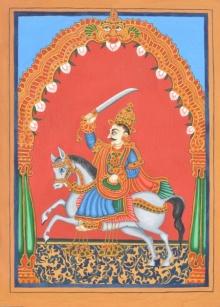 Traditional Indian art title Kalki Avatara on Paper - Mysore Paintings
